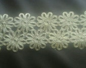 2 Yards Gold Floral Lace Trim Width 3 inches or 8 cm