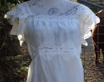 silk and vintage cotton lace gown, sweet, dreamy maxi dress s / m