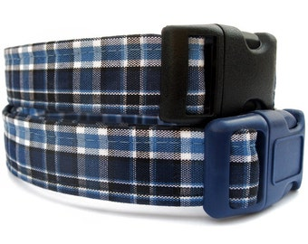 Navy Blue Plaid Dog Collar