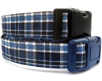 Navy Blue Plaid Dog Collar