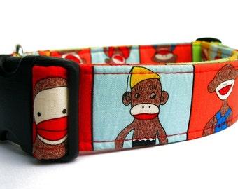 Sock Monkey Dog Collar - 1.5 Inch Width