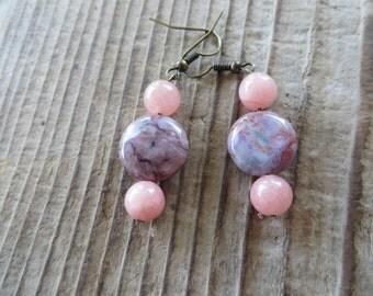 Pink Swirled Jasper and Dyed Jade Earrings