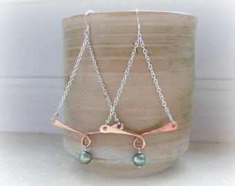 Copper Hammered Earrings, Chandelier Earrings, Mixed Metal Earrings, Southwestern Jewelry, Pearl Earrings, Sterling Copper Jewelry