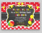 BBQ Birthday Invitation , BBQ Pool Party Birthday Invitation