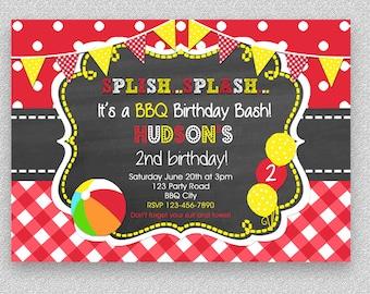 BBQ Birthday Invitation , BBQ Pool Party Birthday Invitation