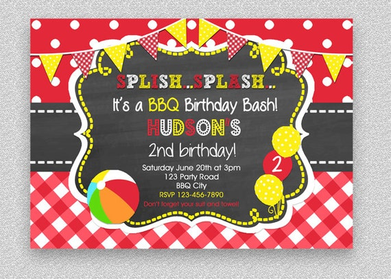 bbq birthday invitation bbq pool party birthday invitation pool