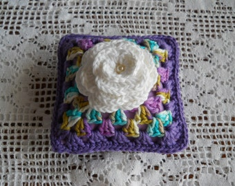 Pincushion or Sachet Pillow in Purple with white Rose Center