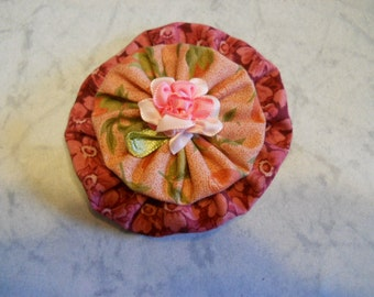 Small Fabric Flower in Cotton Fabric with Ribbon Rose Center