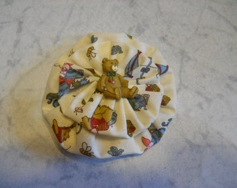 Small Fabric Flower with a Bear Print and Bear Button, Fabric Pin, Fabric Brooch,