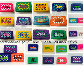 Personalized Pencil Box Plastic Kids Back to school Crayons Scissors storage monogram