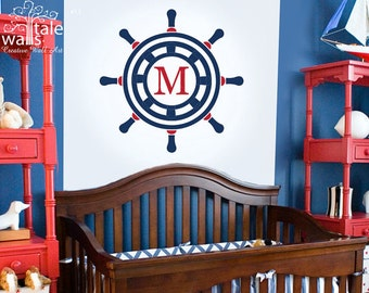 Nautical Ships Wheel with Name Initial Wall Decal for Nursery, sailor wheel with heart headboard wall decal for nautical nursery. SKU13