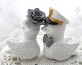 Military Wedding Cake Topper, Love Birds, Marine Hat, White and Grey - Bride and Groom Keepsake