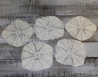 Set of 10 Handmade Crochet Vintage Doilies