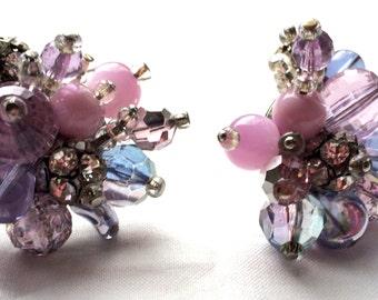 Fantastic 1950s clip earrings purple pink lilac blue runway statement Vintage WOW Designer Vintage Jewelry artedellamoda talkingfashion
