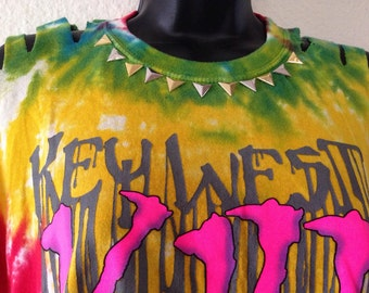 Key West, Tie Dye UPCYCLED fringed tank top