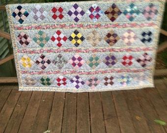 9 patch scrap quilt