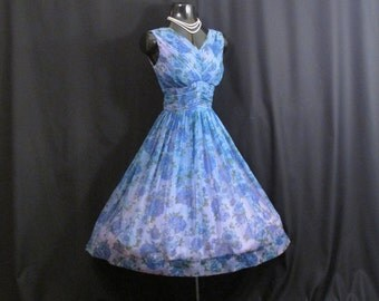 Vintage 1950's 50s Blue Green Ruched Impressionist Watercolor Floral Print Chiffon Organza Party Prom Wedding Dress Gown
