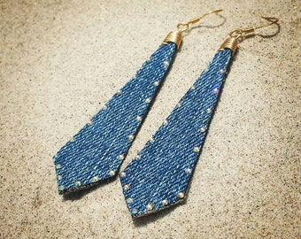 Denim Earrings- Long Arrow Jean Swarovski