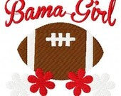 Bama Alabama Girl Football Machine Embroidery Design Joyful Stitches // Joyful Stitches