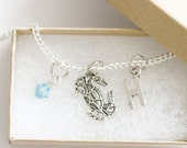 Crab Necklace Silver, Personalized Initial Necklace, Birthstone Acrylic Color, Birthday Gift, Gift for Girl, Sea Necklace, Girl Necklace