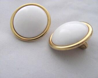 Classic White Domed Gold Trim Monet Clip On Earrings