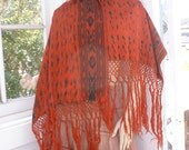 Hand Woven Ethnic Cotton Shawl Wrap in Red and Black