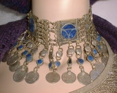 SALE Exotic Vintage Afghan Afghanistan NECKLACE Lapis Lazuli and Coin Silver