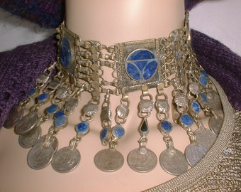 Exotic Vintage LAPIS and COINS Neclace Afghan Afghanistan Belly Dance