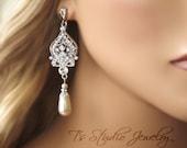 Teardrop Pearl Bridal Chandelier Earrings - Silver, Gold or Rose Gold - ARIANA