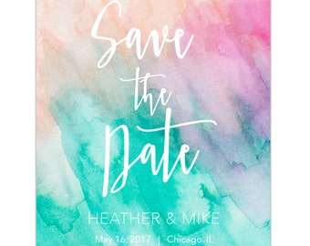 Watercolor beach colors Save the Date with matching envelopes; turquoise, pink, peach, sand