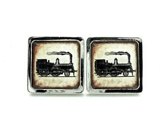 Steam Train Cufflinks - Gifts for Him - Vintage Style