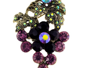 Amethyst Purple Grape Crystal Pin Brooch 1012902