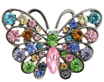 Multicolor Butterfly Pin Brooch And Pendant 1002414