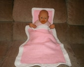 Knit Pink & White Doll Blanket And Pillow With Crochet Trim