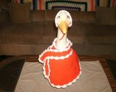 Goose Clothes - Crocheted Red & White Winter Coat Outfit