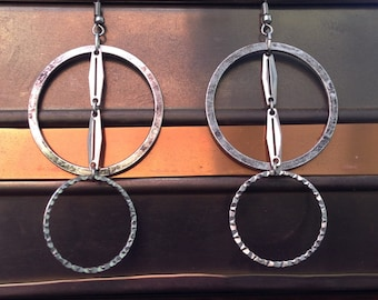 Big layered dangle earrings with silver tone circle hoops and chain