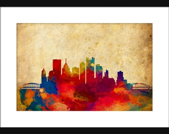 Pittsburgh Skyline Typography Print Abstract Grunge Poster Map