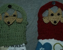 3 Crochet Towel Toppers Pattern- Dog In Basket-Roses- Grapes