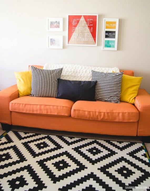 Beautiful Custom IKEA Kivik Sofa Cover (3 Seater) In Kino Orange Fabric