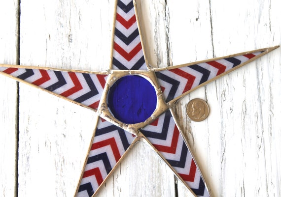 4th of July Chevron star- 9 inch lacquered red, white, and blue fabric on glass