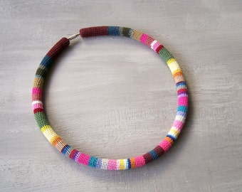 Colorful Necklace Crochet Tube - Confetti Choker - Kaleidoscope Stripes Necklace