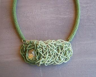 Pastel Green Maze Necklace