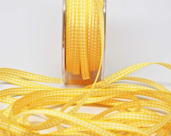 Solid Check Ribbon -- 3/16 inch -- Sunshine Yellow White