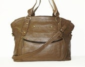 "Dark Taupe Leather Bag Tote Bag Shoulder Cross-body Bag Travel Weekend Bag Magui BIS extra large, fits a 17"" laptop"
