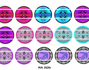 "Set of 15 1"" Digital Bottle Cap Images Native American (NA 1034) Blanket Designs"