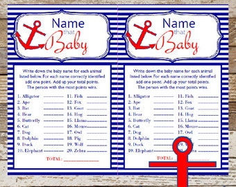 Nautical Name the Baby Game Baby Shower ~ Instant Download Name that Baby Game Baby Shower Game Cards Nautical Game Anchor Card BS341