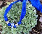 Repurposed Hand Painted Ceramic Bead and Royal Blue Sari Silk Ribbon Necklace Fair  Trade