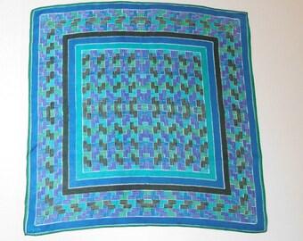 Vintage VERA Neumann Green and Blue dashes graphic print scarf