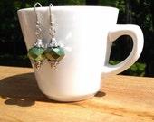 Boho Glass Bead Dangle Earrings Green with Silver Bead Caps