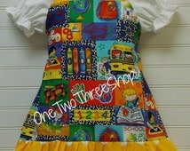 Custom Boutique Clothing Back to School girl Top and  Dress Set